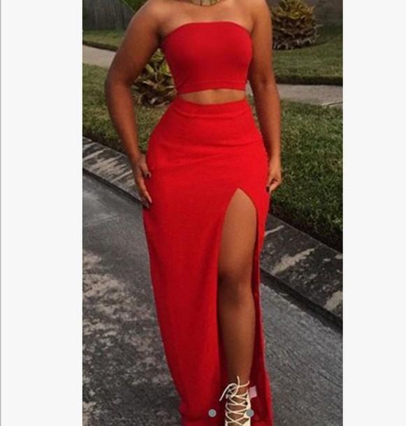 fe918de22 dress red two piece formal dress two piece dress set red red dress bodycon  slit dress