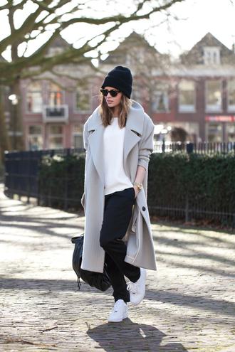fash n chips coat t-shirt pants shoes jewels sunglasses hat beanie blouse grey grey coat grey long coat jacket