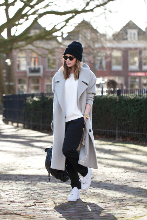 fash n chips coat t-shirt pants shoes jewels sunglasses hat beanie blouse grey grey coat grey long coat jacket