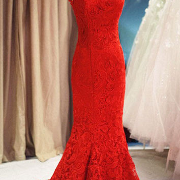 Custom High Neck Trumpet Mermaid Sleeveless Red Lace Train Long Dress Prom Dress Evening Dress Formal Dress Wedding Dress Bridesmaid Dress on Wanelo