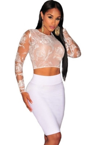 top white floral lace sexy tops party crop crop tops chic wots-hot-right-now white top embroidered see through lingerie long sleeves blouse date outfit clubwear celebrity style celebstyle for less