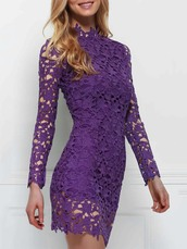 dress,purple,lace,lace dress,summer,long sleeves,fashion,style,romantic,trendy,dressfo