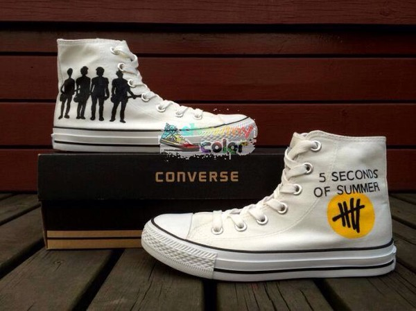 shoes band painted sneakers converse 5sos merch 5 seconds of summer white converse black and white