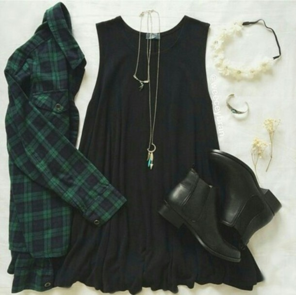 dress grunge black boots plaid necklace outfit shoes shirt