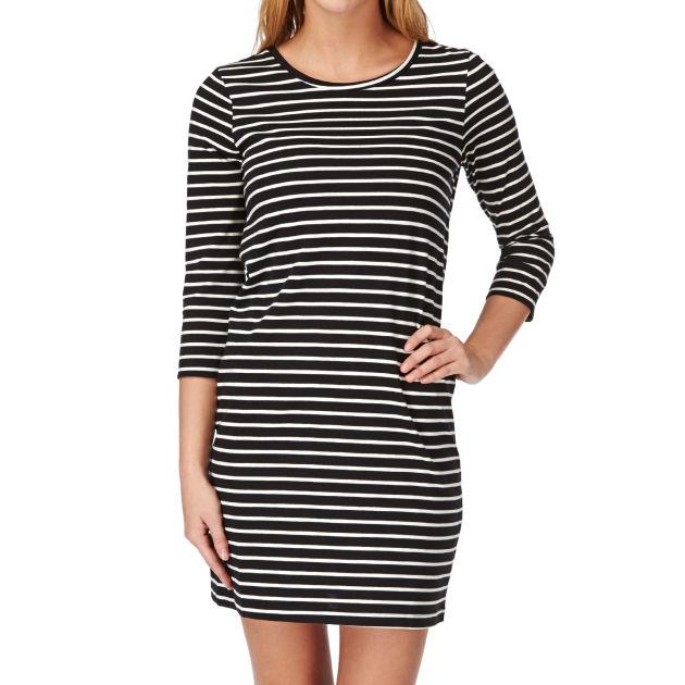 Women's Vero Moda Sky 3/4 Striped Dress - Black/white Stripe cheap - The Ultimate Lifestyle Store