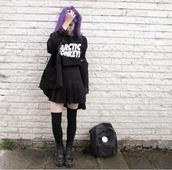 skirt,grunge,soft grunge,grunge skirt,tumblr girl,goth,pastel goth,emo,punk,punk rock,tumblr fashion,tumblr skirt,purple,arctic monkeys,black skirt,skater skirt,japanese,japanese skirt,cute skirt,creepers,chunky shoes,swag,soft grunge skirt,all black everything,purple hair,knee high socks,All black  outfit