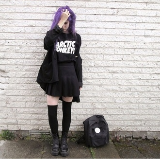 skirt grunge soft grunge grunge skirt tumblr girl goth pastel goth emo punk punk rock tumblr fashion tumblr skirt purple arctic monkeys black skirt skater skirt japanese japanese skirt cute skirt creepers chunky shoes swag soft grunge skirt all black everything purple hair knee high socks all black  outfit
