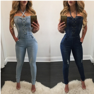 Cheap Wholesale Trendy Washed Suspender Denim Jumpsuit