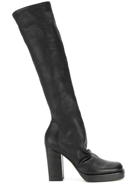 Rick Owens women platform boots leather black shoes