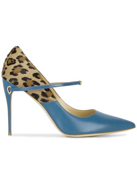Jennifer Chamandi fur women heels leather blue shoes