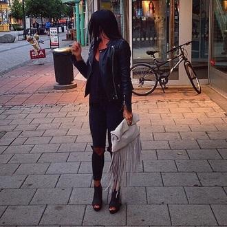 bag clutch fringes nude high heels