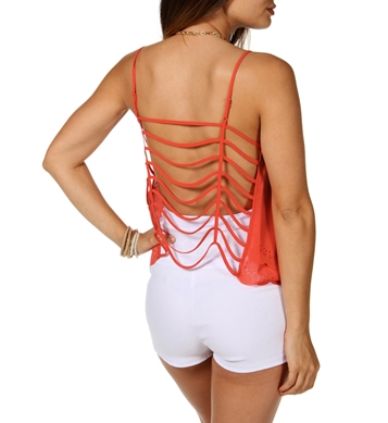 Coral caged back sleeveless top