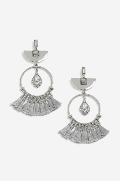 tassel earrings grey jewels