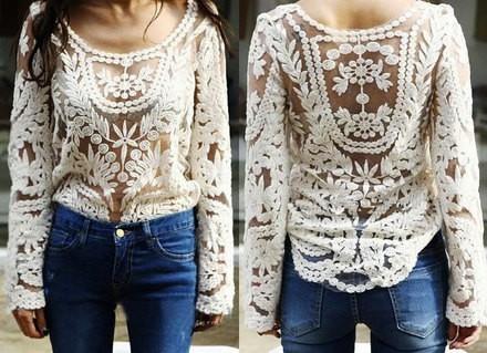 Vintage cream crochet semi sheer lace floral long sleeved top