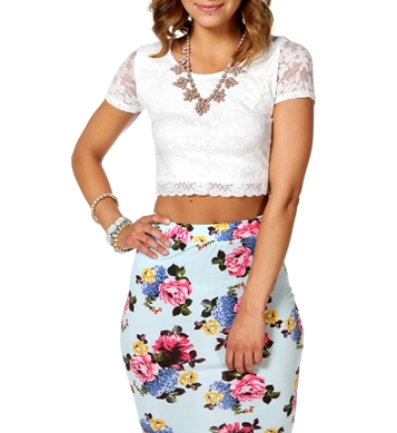 Ivory all over lace crop top