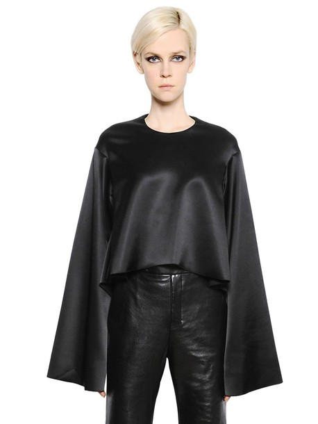 ellery top cropped silk satin black