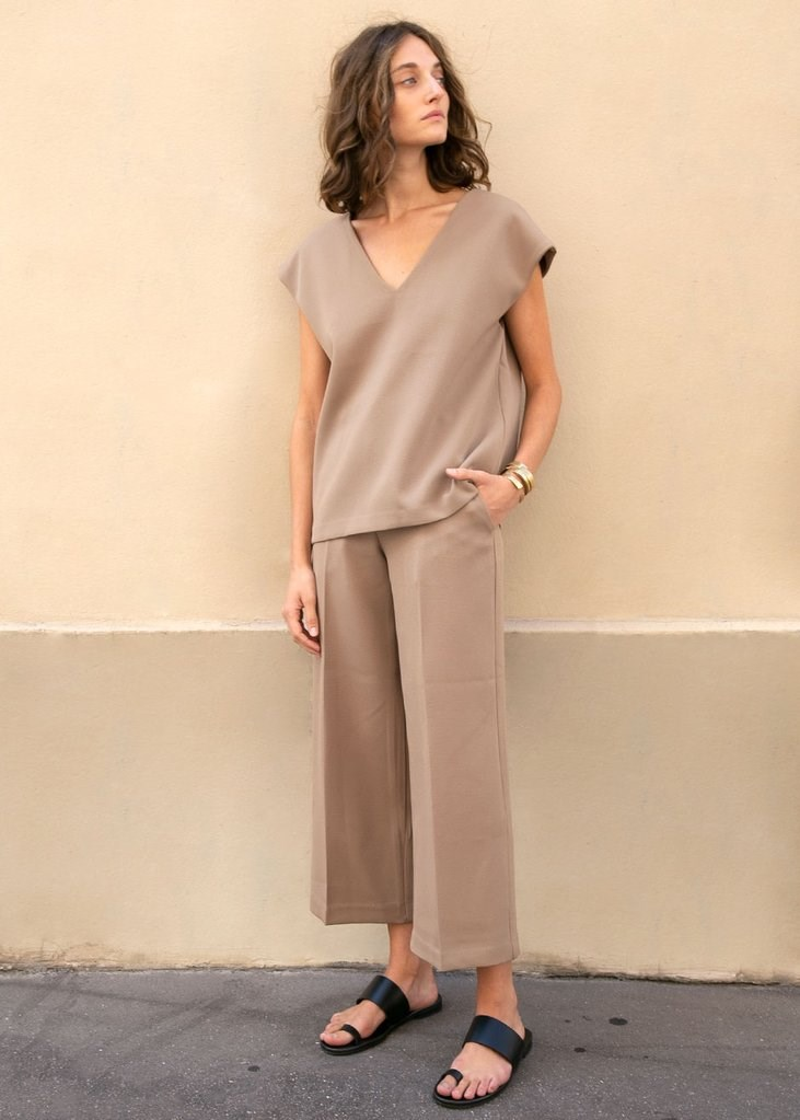 Flat Front Cropped Trousers in Camel
