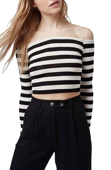4a32e931e3e9de Topshop Stripe Off the Shoulder Top
