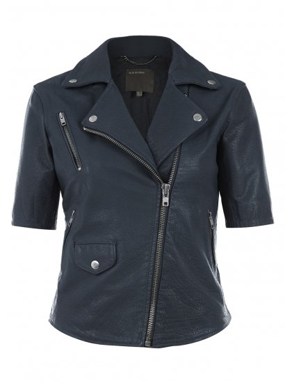 Emro Blue Leather Biker Jacket