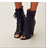 shoes,black,leather,open toes,lace up