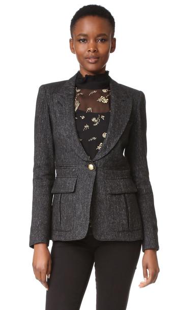 Smythe Peaked Lapel Blazer - Black Tweed