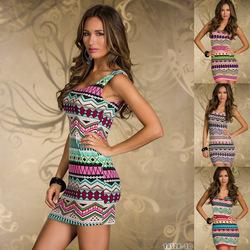 10pcs/lot cpam livraison gratuite dames sexy robe imprimé rétro aztèque d'impression. célébrité inspiré robe