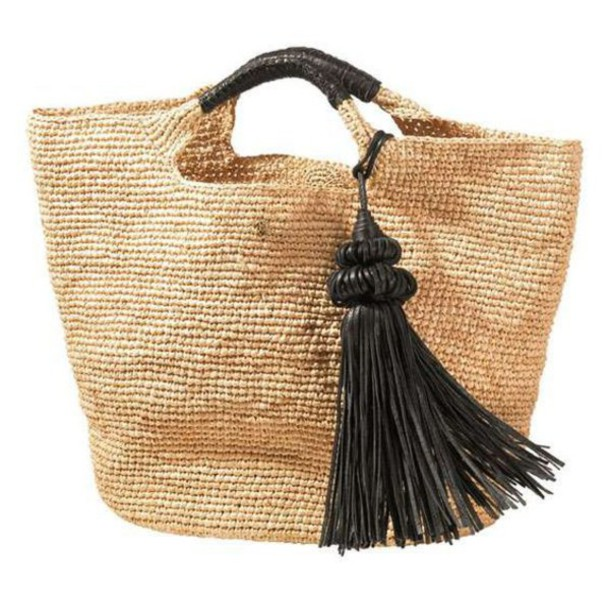 Bag: raffia bag, raffia, tote bag, beach bag, tassel - Wheretoget