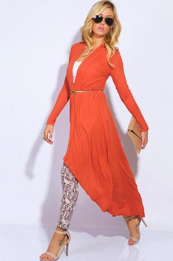 BURNT ORANGE MAXI CARDIGAN - Shop Women's Clothing, Accessories & Detroit Apparel l Dressed2ATee