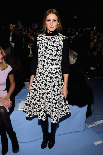 dress olivia palermo fashion week 2015 black and white shoes boots