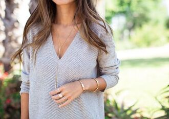 sweater oversized sweater v neck grey knitted sweater grey knit fall sweater fall outfits spring outfits spring grey sweater jewels blouse pullover classy beige love deep v-neck pullover sweater
