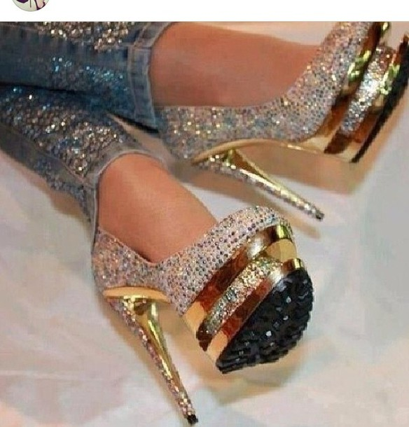 Shoes: gold, glitter shoes, diamonds, platform shoes, nude, nude ...