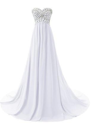 dress white long prom white long prom dress gemstone