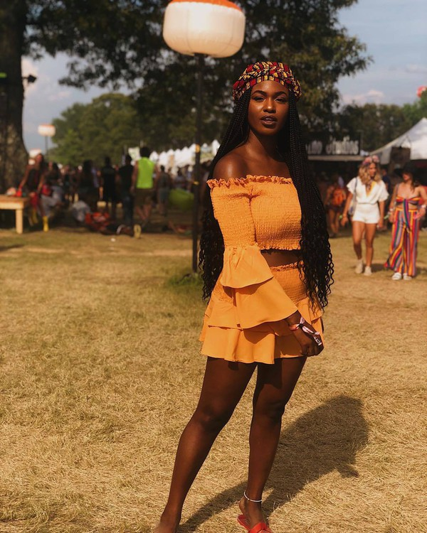 top crop tops skirt orange orange skirt orange crop top head scarf