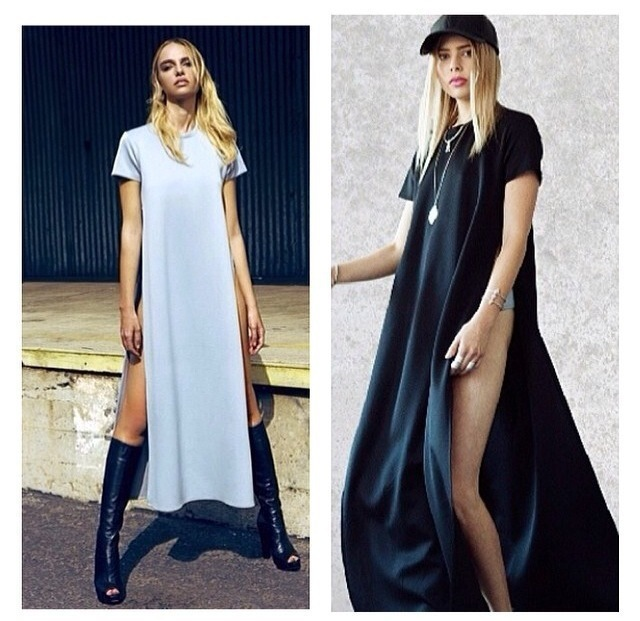 2014 HOT SELLING WHITE/BLACK 3 COLORS POP OF JUNK GYPSY TEE LONG TSHIRT OPEN ON THE SIDES CATTON LONG CASUAL GIRL DRESS  YQ025-in Dresses from Apparel & Accessories on Aliexpress.com