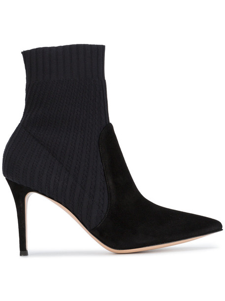 sock boots women spandex leather suede black shoes