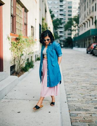 mimi & chichi blog blogger dress jacket top skirt shoes bag jewels shirt denim shirt slide shoes fall outfits pink skirt midi skirt