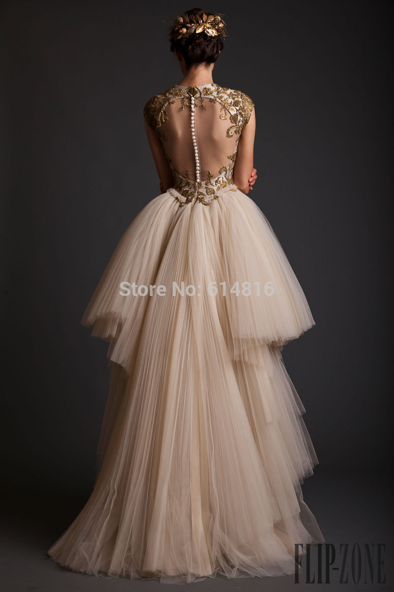 Vintage noble vestidos de fiesta with detachable train hi low gold appliques sequined champagne prom dresses 2014 sheer back