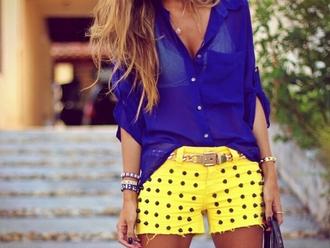 shorts blouse yellow studded shorts