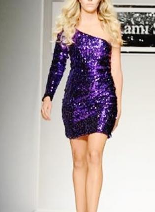 Sequin Dress - Purple One Sleeve Sequin Party | UsTrendy