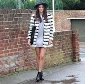 peexo,blogger,bag,fedora,faux fur jacket,stripes,black boots