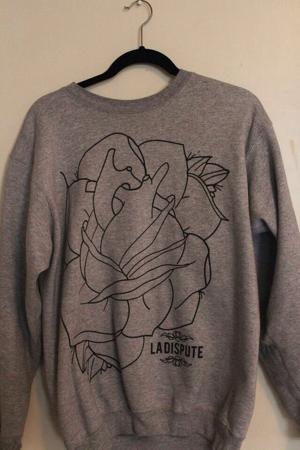 sweater la dispute flowers grey grey sweatshirt band pullover