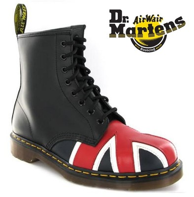 New doc dr martens size 9 style 1460 black leather boots with union jack unisex on ebay!