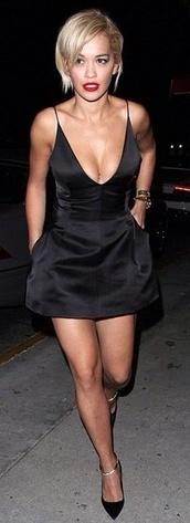 dress,black low cut dress rita ora