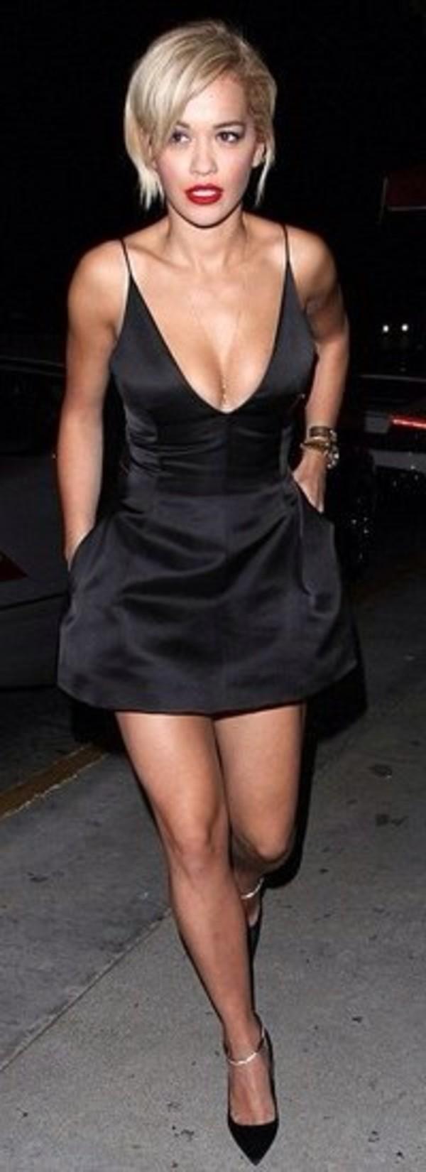 dress black low cut dress rita ora