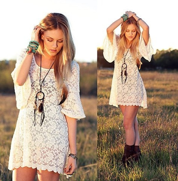 dress hippie crochet white lace dress boho festival gypsy blogger style cute summer dress romantic fashion vintage brown boots shoes lace romantic summer dress