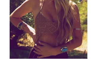 pearl top gold fray beautiful gold top pretty summer top
