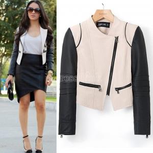 Women collarless zipper pocket contrast faux leather long sleeve slim fit jacket
