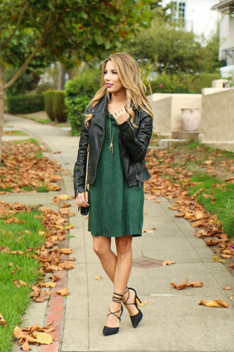 fashionborn blogger suede dress green dress black leather jacket