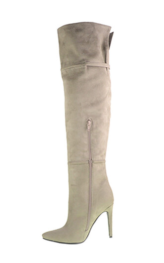 shoes grey suede boots fashion style trendy over the knee boots freevibrationz