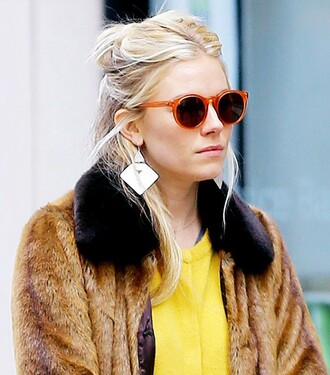 coat jacket fur fur coat collar sienna miller